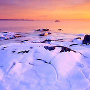 Ice on the coast. Rockland, Maine