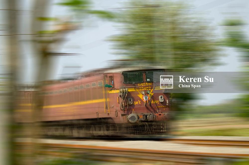 A train on track, Orissa, India