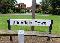 © licensed to London News Pictures. Wallingford, UK.  06/09/11.Lichfield Down street sign. Thames Valley Police have launched a murder investigation today, in Walnut Tree, Milton Keynes, after a man was found with fatal injuries last night (5/9/11). A 33 year old man was taken to Milton Keynes General Hospital but died from his injuries a short time later. A second man aged 32 has been arrested. Mandatory Credit Stephen Simpson/LNP