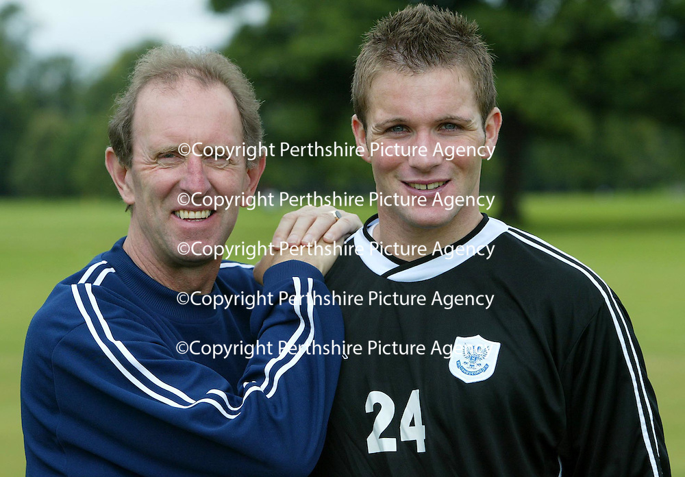 St Johnstone boss John Connolly with his latest signing Jordan Tait.<br />see story by Gordon Bannerman Tel: 01738 553978 or 07729 865788<br />Picture by Graeme Hart.<br />Copyright Perthshire Picture Agency<br />Tel: 01738 623350  Mobile: 07990 594431