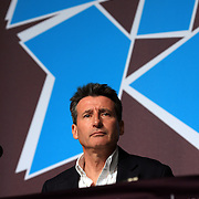 LOCOG chairman Sebastian Coe speaking at the IOC/LOCOG joint media conference at the Main Press Centre at Olympic Park, Stratford during the London 2012 Olympic games preparation. London, UK. 17th July 2012. Photo Tim Clayton