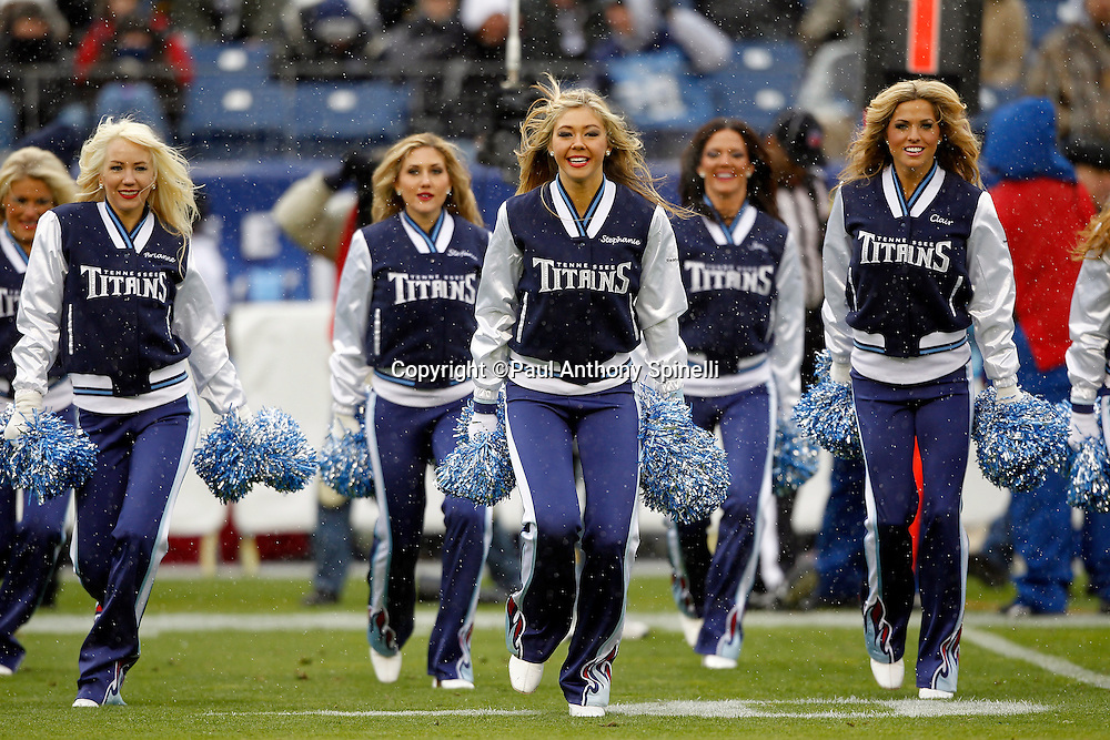 The Tennessee Titans cheerleaders do a dance routine during the NFL week 13 football game against the Jacksonville Jaguars on Sunday, December 5, 2010 in Nashville, Tennessee. The Jaguars won the game 17-6. (©Paul Anthony Spinelli)