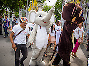 01 AUGUST 2013 - BANGKOK, THAILAND: People in animal suits march into the Thai parliament building Thursday. Members of the SPCAT picketed the Thai parliament building in Bangkok Thursday to call attention to proposed anti-animal cruelty laws being debated by the Parliament. The laws would tighten animal cruelty law regarding the dog (and cat) meat trade, buying and selling exotic pets, ivory and endangered animal products (like bear bile and ivory). Thailand serves as a transit point for the endangered animal and exotic meat trade. Ivory is shipped to China. Dogs (for meat) are sold to Vietnam.     PHOTO BY JACK KURTZ