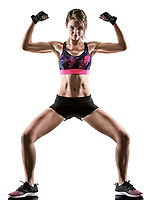 one caucasian woman exercising cardio boxing cross core workout fitness exercise aerobics silhouette isolated on white background