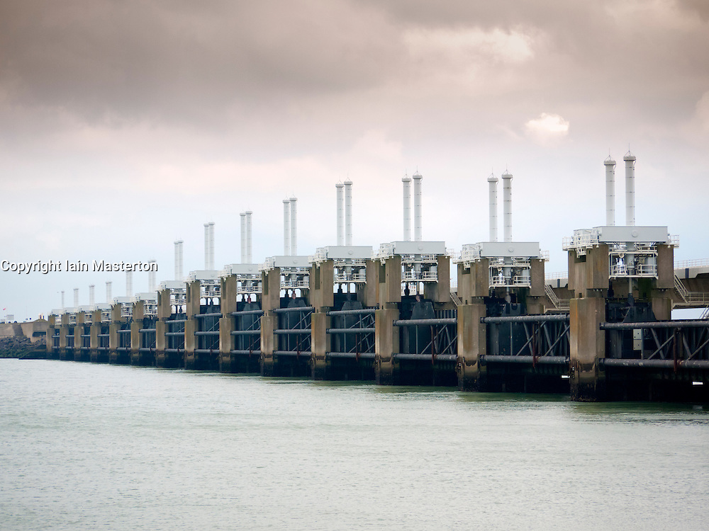 Oosterscheldedam or Eastern-Scheld flood defence barrier at Schouwen Duivenland and Northern Beveland, Zeeland, The Netherlands