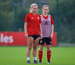 NEWPORT, WALES - Friday, October 5, 2018: Wales' Charlie Estcourt (L) and Cerys Jones during a training session at Dragon Park. (Pic by David Rawcliffe/Propaganda)