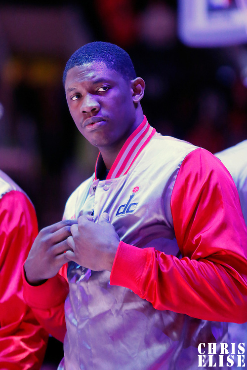 20 March 2015:  Washington Wizards center Kevin Seraphin (13) is seen during the national anthem prior to the Los Angeles Clippers 113-99 victory over the Washington Wizards, at the Staples Center, Los Angeles, California, USA.