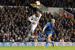 19.09.2013, White Hart Lane, London, ENG, UEFA Champions League, Tottenham Hotspur vs Toromsoe IL, Gruppe K, im Bild Tottenham's Sandro heads the ball towards the Tromso goal during UEFA Champions League group K match between Tottenham Hotspur vs Toromsoe IL at the White Hart Lane, London, United Kingdom on 2013/09/19 . EXPA Pictures © 2013, PhotoCredit: EXPA/ Mitchell Gunn <br /> <br /> ***** ATTENTION - OUT OF GBR *****