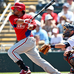 March 13, 2011; Fort Myers, FL, USA; Philadelphia Phillies left fielder Delywn Young (24) during a spring training exhibition game against the Minnesota Twins at Hammond Stadium.   Mandatory Credit: Derick E. Hingle