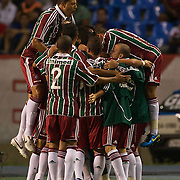 Fluminense celebrate their sides first goal by Leandro during the Flamengo V  Fluminense, Futebol Brasileirao  League match at Estadio Olímpico Joao Havelange, Rio de Janeiro, The classic Rio derby match ended in a 3-3 draw. Rio de Janeiro,  Brazil. 19th September 2010. Photo Tim Clayton.