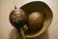 Petroglypha of the sun, inscribed on maracas, which are made of gourds, were specific to the Taino Indians in Jayuya, Puerto Rico. They are musical instruments used by the Taino and are part of this year's festival theme that celebrates the musical instruments of the Taino Indians during the 39th annual Festival Indigena de Jayuya.