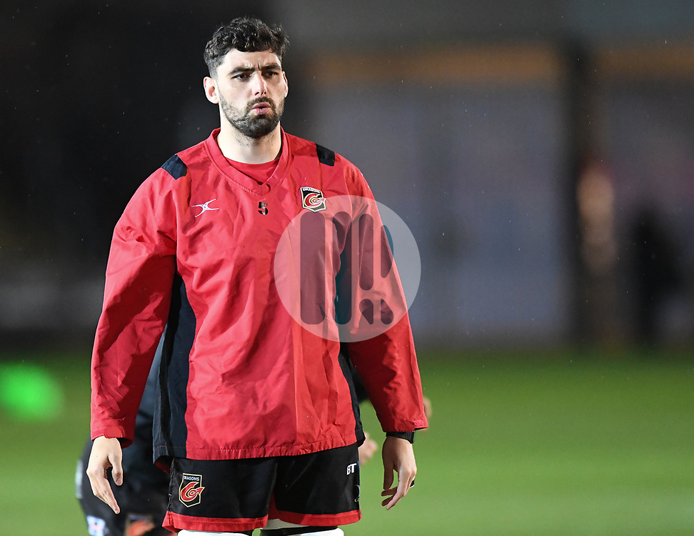 Dragons' Cory Hill during warm up<br /> <br /> Photographer Mike Jones/Replay Images<br /> <br /> Guinness PRO14 Round Round 18 - Dragons v Cheetahs - Friday 23rd March 2018 - Rodney Parade - Newport<br /> <br /> World Copyright © Replay Images . All rights reserved. info@replayimages.co.uk - http://replayimages.co.uk