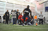 Mississippi linebacker Mike Marry runs through a drill during Pro Day, in Oxford, Miss. on Monday, March 3, 2014. (AP Photo/Oxford Eagle, Bruce Newman)