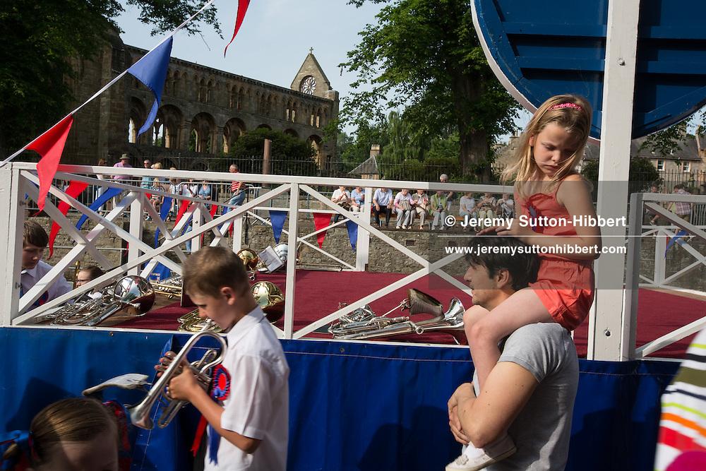 Jethart Callant's Festival, in Jedburgh,  Scotland, Friday 12th July 2013. With Callant Garry Ramsay, Right Hand man Iain Chisholm, Left Hand Man Ryan Miller, and Herald Allan Learmonth.<br /> N55&deg;28.632'<br /> W2&deg;33.277'