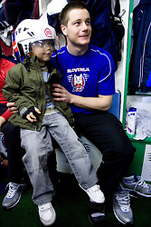 Jan Urbas of Slovenian Ice Hockey National team  at visit of children of kindergarten Mojca from Dravlje, Ljubljana during the IIHF World Championship Division 1 Group B tournament, on April 21, 2010, in Hala Tivoli, Ljubljana, Slovenia.  (Photo by Vid Ponikvar / Sportida)