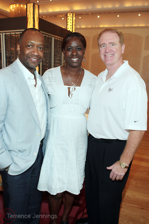 8 July 2011- Miami Beach, Florida- l to r: Jeff Friday, Founder, American Black Film Festival, Nina Price, Cadillac, and David Fitzwater, Cadillac at Film Life's  2011 American Black Film Festival Founders Brunch held at Emeril's on July 8, 2011 in Miami Beach. Photo Credit: Terrence Jennings