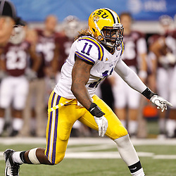 Jan 7, 2011; Arlington, TX, USA; LSU Tigers linebacker Kelvin Sheppard (11) against the Texas A&M Aggies during the fourth quarter of the 2011 Cotton Bowl at Cowboys Stadium. LSU defeated Texas A&M 41-24.  Mandatory Credit: Derick E. Hingle