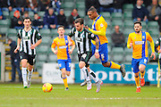 Plymouth Argyle's Graham Carey and Mansfield Town's Krystian Pearce during the Sky Bet League 2 match between Plymouth Argyle and Mansfield Town at Home Park, Plymouth, England on 13 February 2016. Photo by Graham Hunt.
