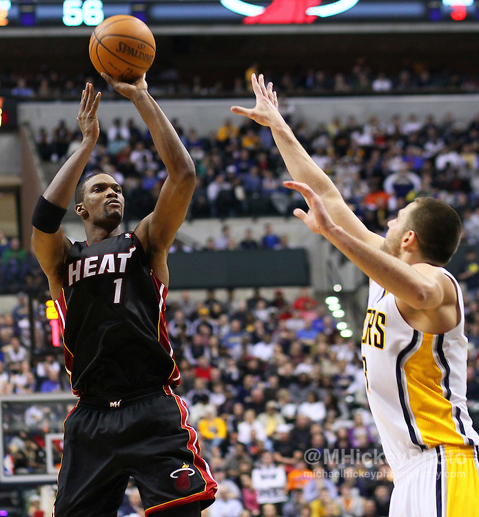 Feb. 15, 2011; Indianapolis, IN, USA; Miami Heat power forward Chris Bosh (1) shoots the ball against the Indiana Pacers at Conseco Fieldhouse. Mandatory credit: Michael Hickey-US PRESSWIRE