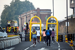 © Licensed to London News Pictures. 25/08/2019. London, UK. Security barriers in place at the start of day 1 of the Notting Hill carnival. The two day event is the second largest street festival in the world after the Rio Carnival in Brazil, attracting over 1 million people to the streets of West London. Photo credit: Ben Cawthra/LNP