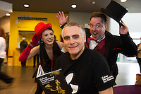 13/06/2016 repro free. Actors Philip Sweeney and Emma Regan with Artistic Director Paul Fahy (Centre)  open the Galway International Arts Festival 2016 Box Office located at the Galway Tourist Office. The Festival runs from the 11th to the 24th of July in the city of the Tribes. . Photo:Andrew Downes, xposure