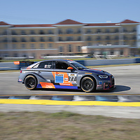 March 15, 2018 - Sebring, Florida, USA:  The Compass Racing/ TRUMPF Audi Sport  Cushman Wakefield, Oscar Mike, Race Day Foundation Audi RS3 LMS races through the turns at the Alan Jay Automotive Network 120 at Sebring International Raceway in Sebring, Florida.
