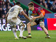 Jack Clifford in action, Harlequins v Cardiff Blues in a European Challenge Cup match at Twickenham Stoop, Twickenham, London, England, on 17th January 2016