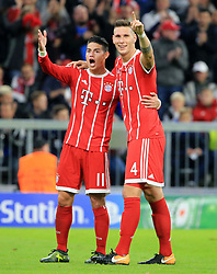 MUNICH, Sept. 13, 2017  Bayern Munich's Niklas Suele (R) and James Rodriguez celebrate the scoring of Bayern Munich during the first round of UEFA Champions League (UCL) group match between Bayern Munich of Germany and RSC Anderlecht of Belgium, in Munich, Germany, on Sept. 12, 2017. Bayern Munich won 3-0. (Credit Image: © Philippe Ruiz/Xinhua via ZUMA Wire)