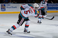KELOWNA, CANADA -FEBRUARY 5: Dalton Yorke #5 of the Kelowna Rockets takes a shot against the Red Deer Rebels on February 5, 2014 at Prospera Place in Kelowna, British Columbia, Canada.   (Photo by Marissa Baecker/Getty Images)  *** Local Caption *** Dalton Yorke;