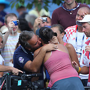 Ana Konjuh, Croatia, is congratulated after winning against Tornado Alicia Black, USA, during the Junior Girls' Singles Final at the US Open. Flushing. New York, USA. 8th September 2013. Photo Tim Clayton