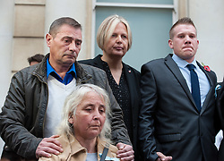 © Licensed to London News Pictures. 11/11/2015. Bristol, UK.  SAM GALSWORTHY (right) the Uncle of murder victim Rebecca Watts, with DARREN GALSWORTHY and ANJIE GALSWORTHY (left) after the verdicts were given by the jury in the case of the murder of Rebecca Watts.  Photo credit : Simon Chapman/LNP