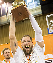 Stevan Milosevic #11 of KK Union Olimpija celebrates after wining during basketball match between KK Union Olimpija and KK Rogaska in 4th Final game of Liga Nova KBM za prvaka 2016/17, on May 24, 2017 in Hala Tivoli, Ljubljana, Slovenia. Photo by Vid Ponikvar / Sportida