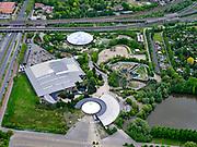 Nederland, Zuid-Holland, Rotterdam, 14-05-2020; Blijdorpse Polder, Diergaarde Blijdorp met Oceanium in de voorgrond. De dierentuin is gesloten ivm met de Corona maatregelen.<br /> Blijdorp Zoo in the North of Rotterdam.The zoo is closed due to the Corona measures.<br /> <br /> luchtfoto (toeslag op standard tarieven);<br /> aerial photo (additional fee required)<br /> copyright © 2020 foto/photo Siebe Swart