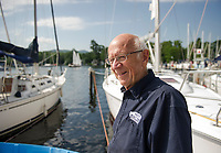 Merrill Fay at Fay's Boat Yard on Lake Winnipesaukee overlooking Smith Cove.  (Karen Bobotas/for New England Boating)
