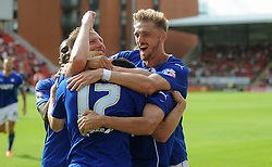 Chesterfield's Eoin Doyle celebrates scoring his sides second goal- photo mandatory by-line David Purday JMP- Tel: Mobile 07966 386802 09/08/14 - Leyton Orient v Chesterfield - SPORT - FOOTBALL - Sky Bet Leauge 1 - London -  Matchroom Stadium