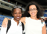 Gail Devers (left) and Laura Arcoleo pose during a news conference prior to the IAAF World Relays, Friday, May 10, 2019,  in Yokohama, Japan.