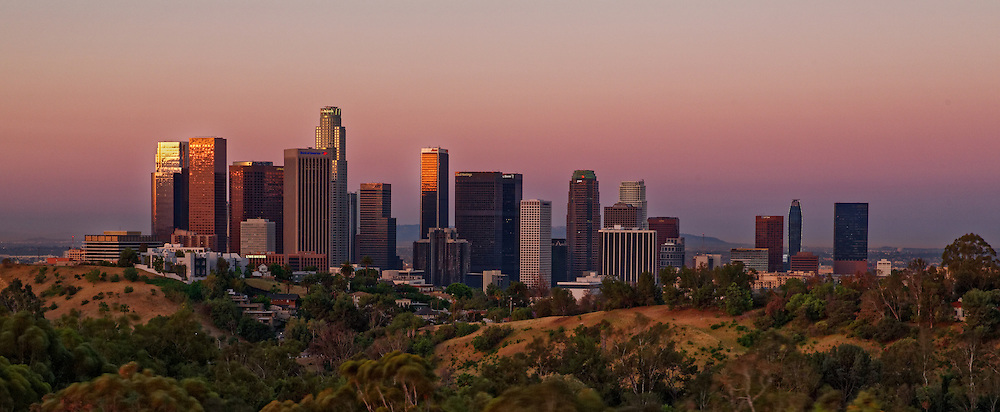 Downtown Los Angeles at sunrise as seen from Elysian Park.