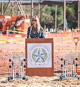 Lori Lambropoulos comments during a groundbreaking ceremony for the new Energy Institute High School, November 19, 2016.