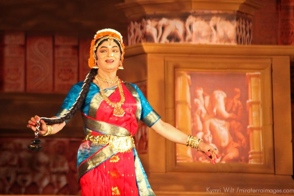Asia, India, Khajuraho. Cultural Performer sings at temples.