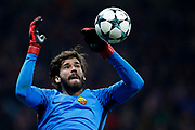 AS Roma's Brazilian goalkeeper Alisson catches the ball during the UEFA Champions League, Group C football match between Atletico Madrid and AS Roma on November 22, 2017 at the Wanda Metropolitano in Madrid, Spain - Photo Benjamin Cremel / ProSportsImages / DPPI