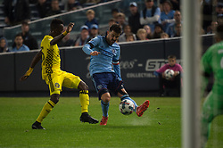 November 5, 2017 - Bronx, New York, U.S - New York City FC forward DAVID VILLA (7) takes a shot on goal while defended by Columbus Crew defender HARRISON AFFUL (25) during leg 2 of the Eastern Conference Semifinal at Yankee Stadium, Bronx, NY.  NYCFC defeats Columbus Crew 2-0.  Columbus wins 4-3 on aggregate. (Credit Image: © Mark Smith via ZUMA Wire)