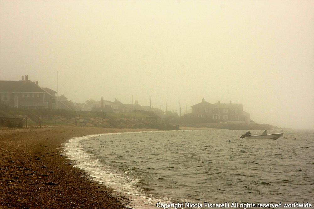 Early morning fog on the Yarmouth Cape Cod beach.