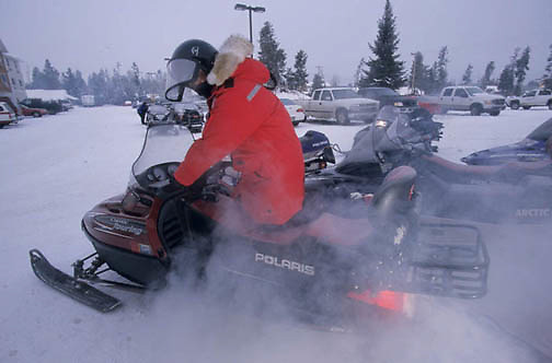 Yellowstone National Park, Exhaust pours from a two stroke sled.