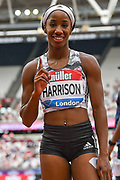 Kendra Harrison of the United States of America celebrates after winning the Women's 100m Hurdles Final at the Muller Anniversary Games, Day Two, at the London Stadium, London, England on 22 July 2018. Picture by Martin Cole.