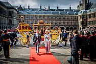 King Willem-Alexander and Queen Maxima during the celebration of Prinsjesdag (Budget Day), the festive opening of the new parliamentary year of the States General every third Tuesday of September at the Binnenhof copyright robin utrecht