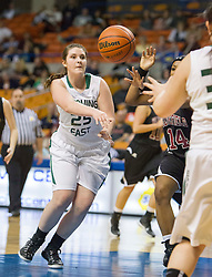 Wyoming East forward Brianne Pertee (25) passes to a teammate against Bluefield during a first round game at the Charleston Civic Center.