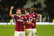 Aston Villa midfielder JohnMcGinn (7) celebrates after the final whistle during the EFL Sky Bet Championship match between Derby County and Aston Villa at the Pride Park, Derby, England on 10 November 2018.