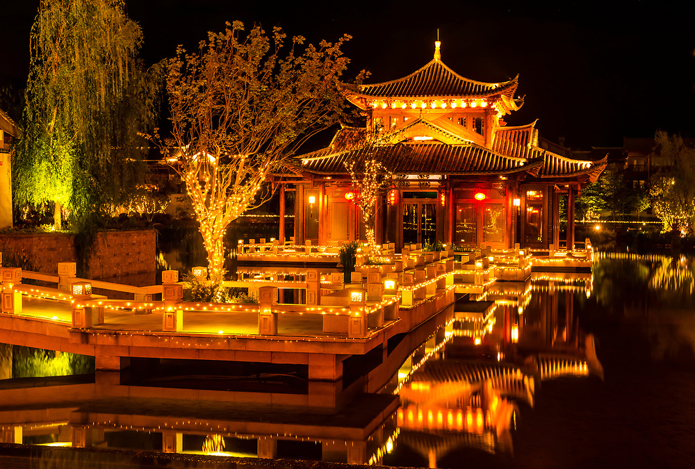 The beautiful Tea House lakeside pavilion at the Grand Hyatt Lijiang Hotel, Yunnan Province, China.