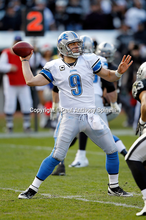 Detroit Lions quarterback Matthew Stafford (9) throws a pass during the NFL week 15 football game against the Oakland Raiders on Sunday, December 18, 2011 in Oakland, California. The Lions won the game 28-27. ©Paul Anthony Spinelli