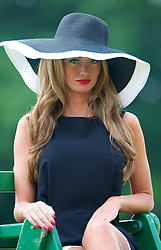 LIVERPOOL, ENGLAND - Friday, June 21, 2013: Model Rebecca Bushall as an Umpire during Day Two of the Liverpool Hope University International Tennis Tournament at Calderstones Park. (Pic by David Rawcliffe/Propaganda)